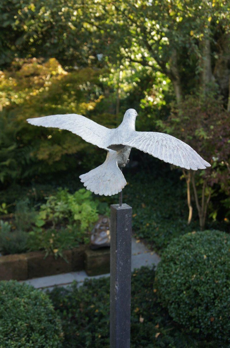 bronzen beeld duif