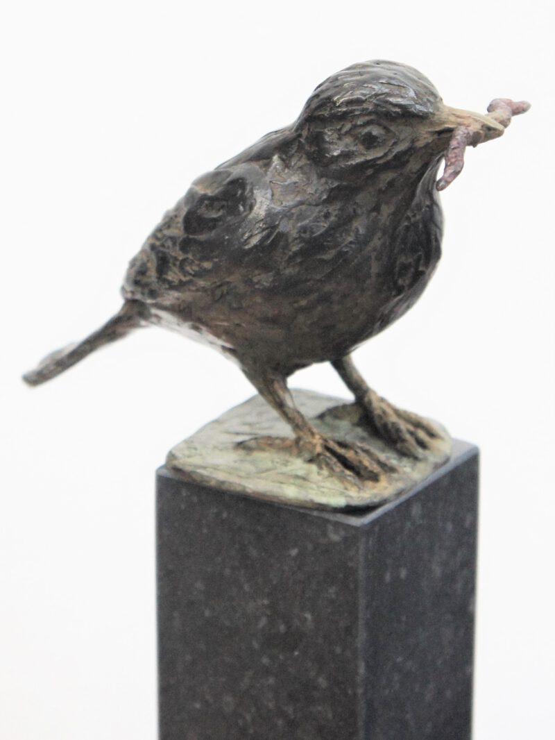 bronzen beeld Merel