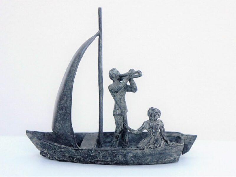 huwelijksbootje bronzen beeld