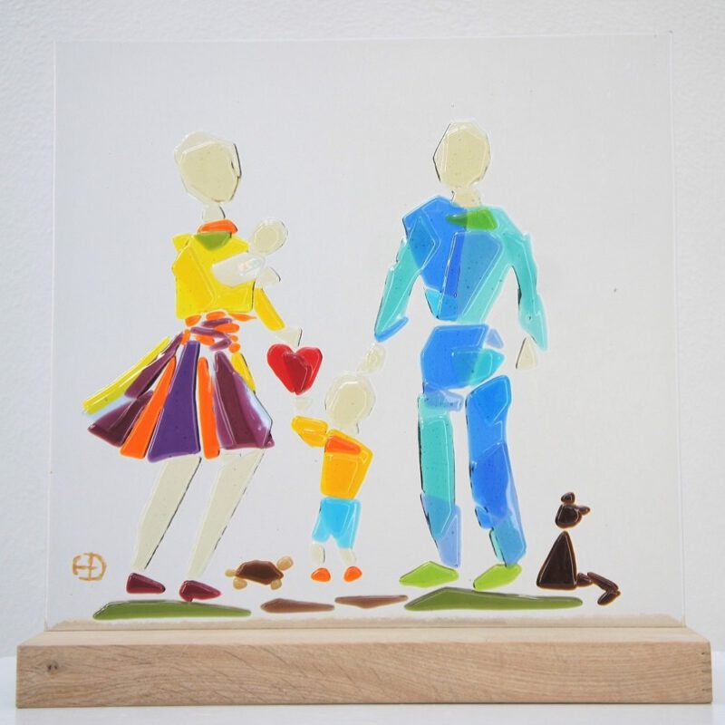 gezin met kinderen glaskunst Diane Timmer