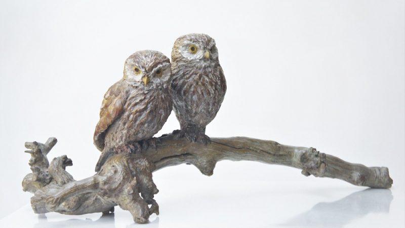 bronzen beeld steenuilen Diane Timmer